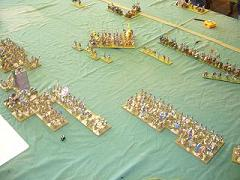 DBR 25mm Tlaxcalans and Conquistadors v Italian Wars French. Click for larger image.